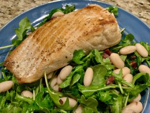 Salmon with Arugula and Michigan White Beans